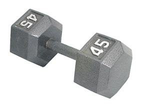 Straight Handle Grey Hexagon Dumbbell